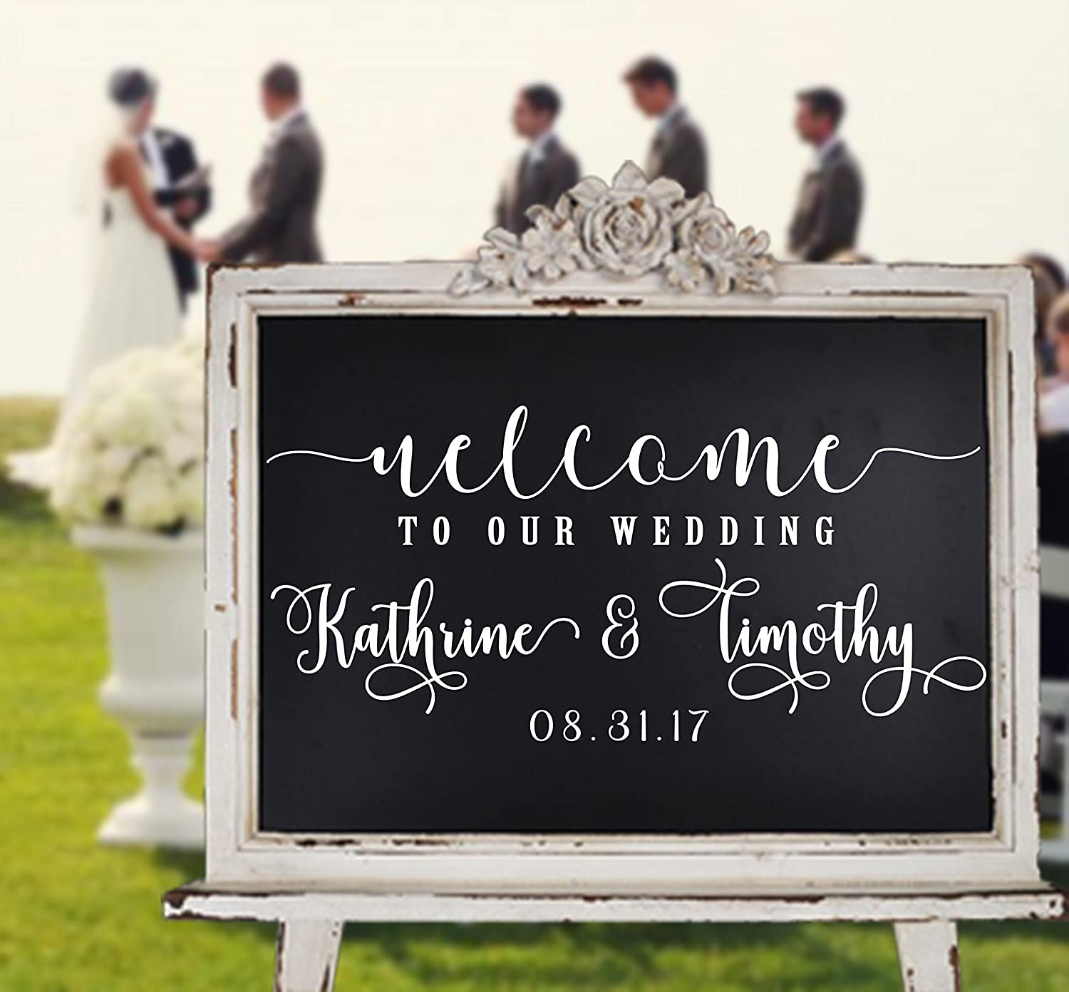 Custom wedding decal Welcome to date personalized vinyl sign mirror chalk board