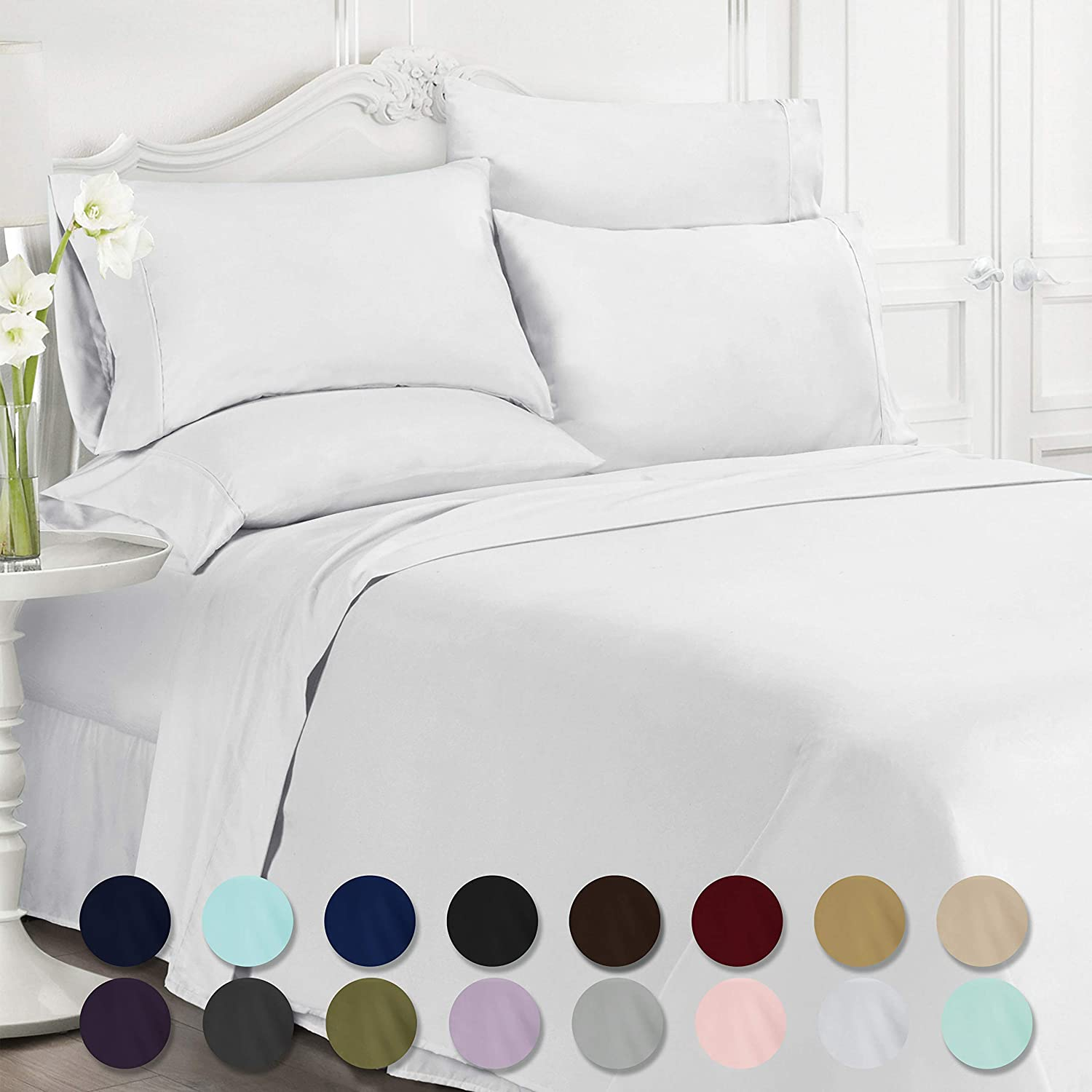 Swift Home Luxury Bedding Collection, Ultra-Soft Brushed Microfiber 6-Piece Bed Sheet Sets, Extremely Durable - Easy Fit - Wrinkle Resistant - (Includes 2 Bonus Pillowcases), Queen, White