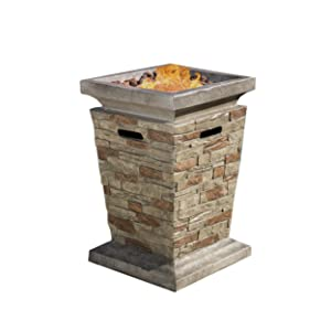 """Christopher Knight Home 296656 Coldwater Outdoor 19"""" Liquid Propane Fire Column, Natural Stone"""