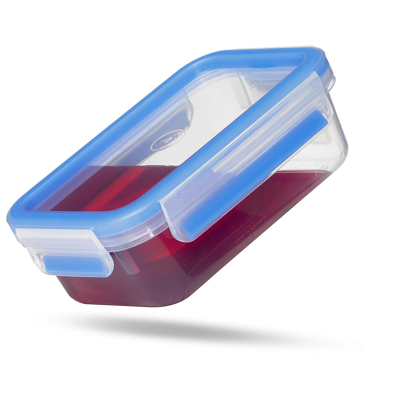 Emsa Clip /& Close Conservador Herm/ético de Pl/ástico Rectangular de 3,7 L Transparente y Azul