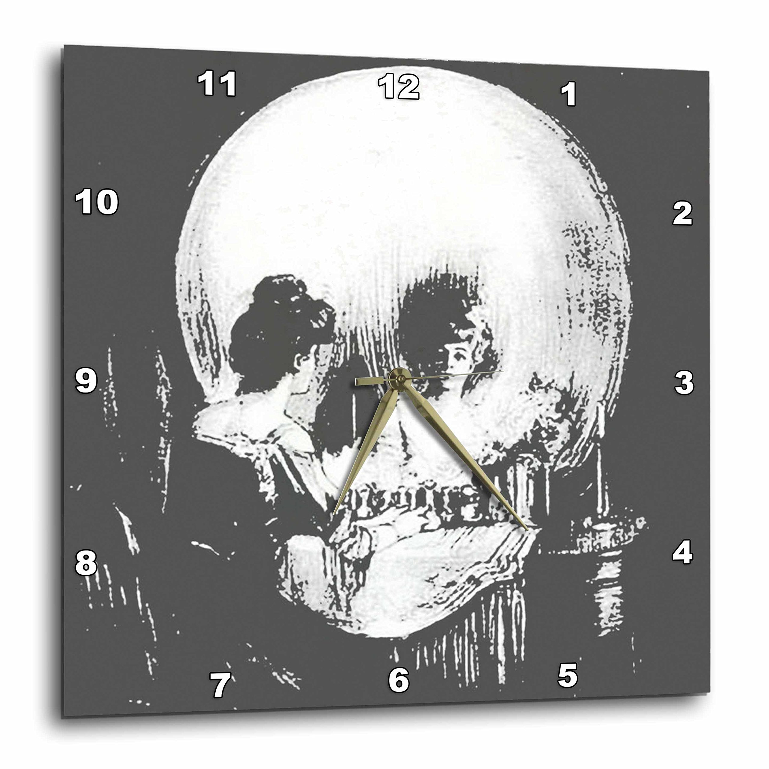 3dRose All Is Vanity Ghost, Halloween, Optical Illusion, Paranormal, Seasonal, Silhouette, Skeleton Wall Clock, 10 by 10''
