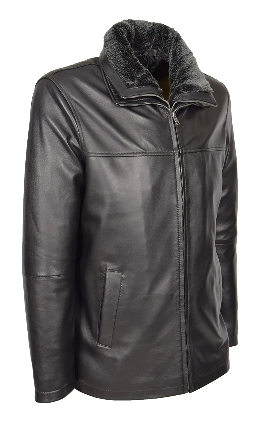 A1 FASHION GOODS Mens Real Leather Jacket Black Box Hip Length Parka Coat William William Black