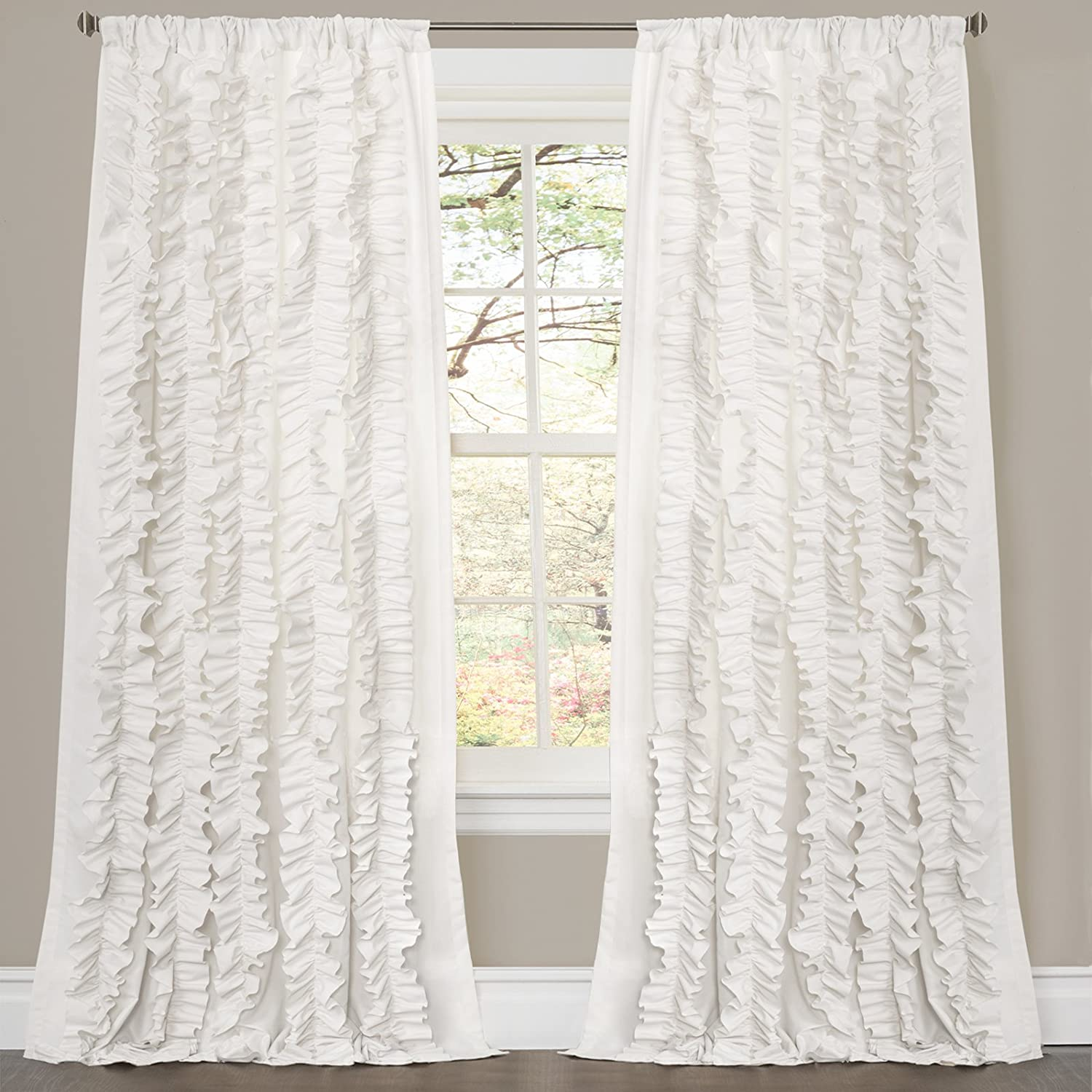 Amazon Lush Decor Belle Curtain 84 X 54 Inches White Home Kitchen
