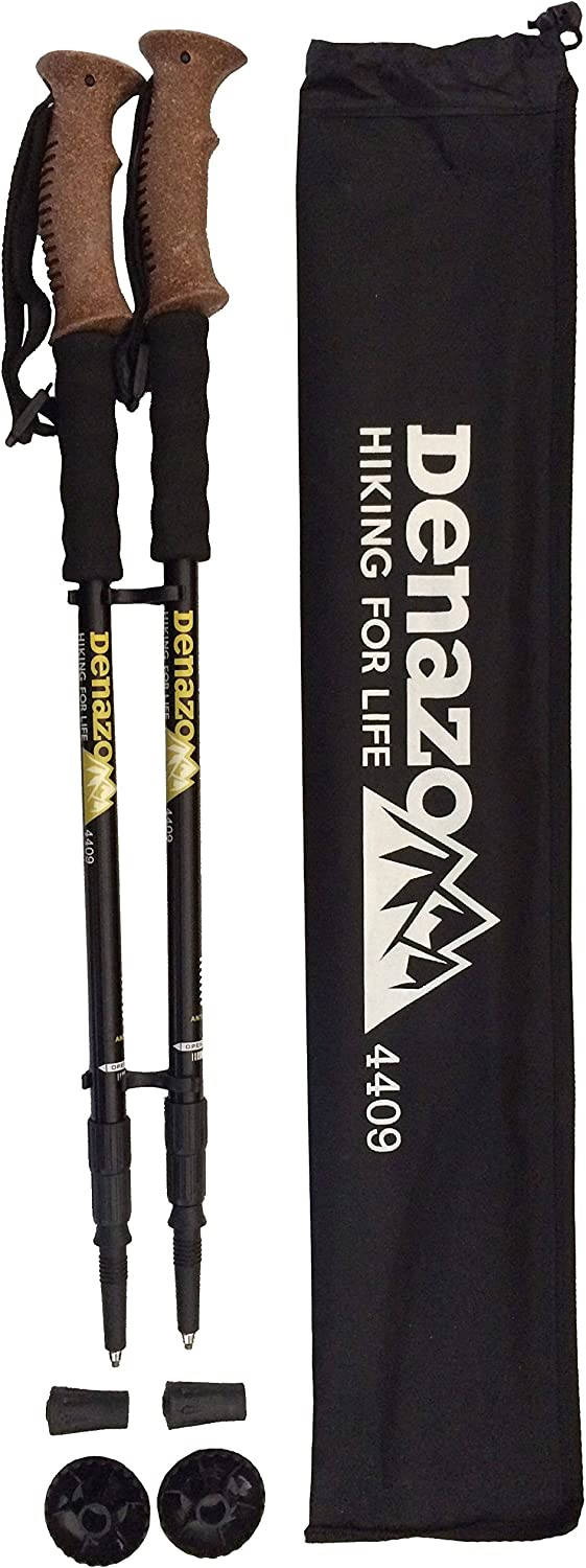 Denazo Hiking Poles Twist Lock Anti Shock All Terrain Trekking – Pack of 2 Plus Carrying Case and Tips