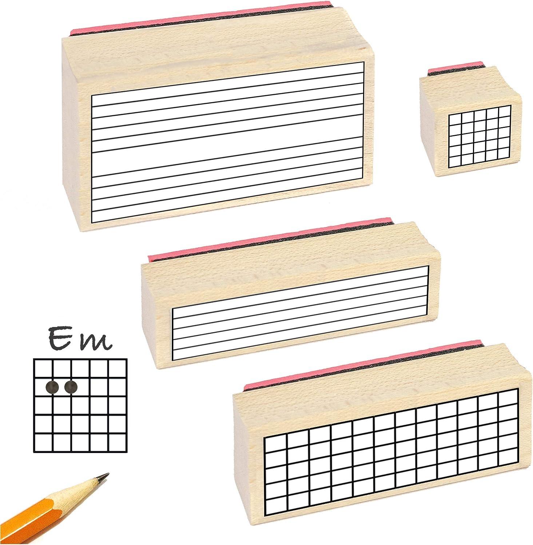 Sello de goma para profesor de guitarra. (4 sellos útiles para dibujar acordes, tablaturas, el diapasón y música).: Amazon.es: Instrumentos musicales