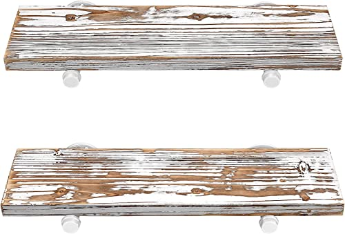 G LUCK Rustic Floating Shelves, Wood Floating Shelves, Floating Wall Shelves, Bathroom Shelves, Kitchen Shelves, Home D cor, Rustic White Chipped Paint Look On Real Solid Wood 24x7x1.2