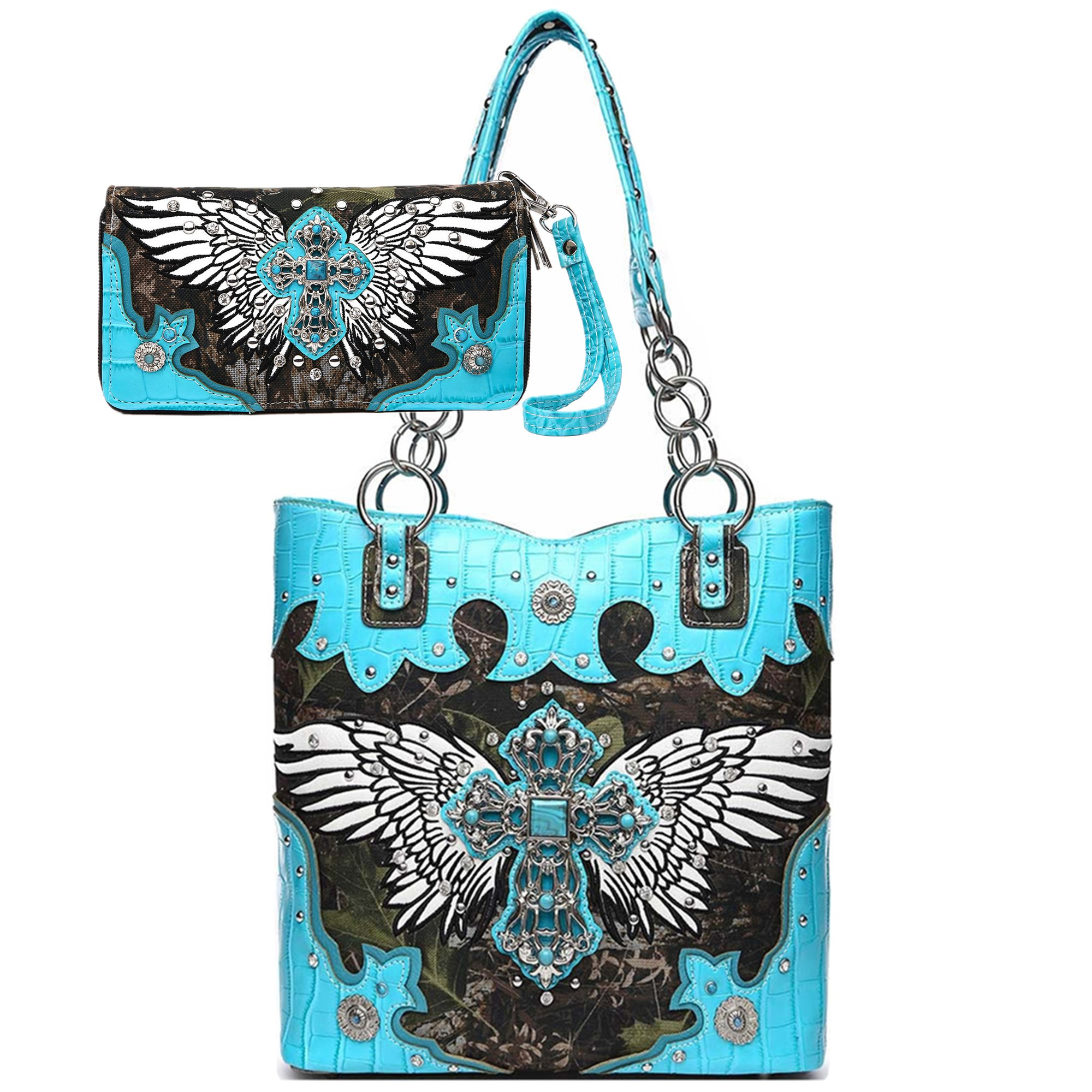 Camouflage Cross Wings Western Totes Concealed Carry Purse Country Handbags Women Shoulder Bag Wallet Set (Turquoise Set)