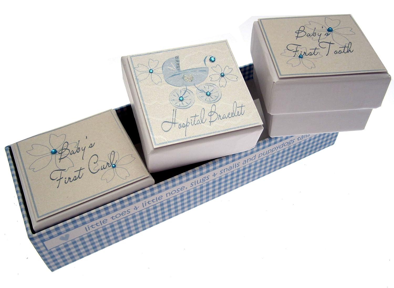 White Cotton Cards Bliss - Scatoline ricordo per prima ciocca di capelli/primo dentino/braccialetto identificativo per ospedale, motivo passeggino, con scritte in lingua inglese, colore: Blu BBB5