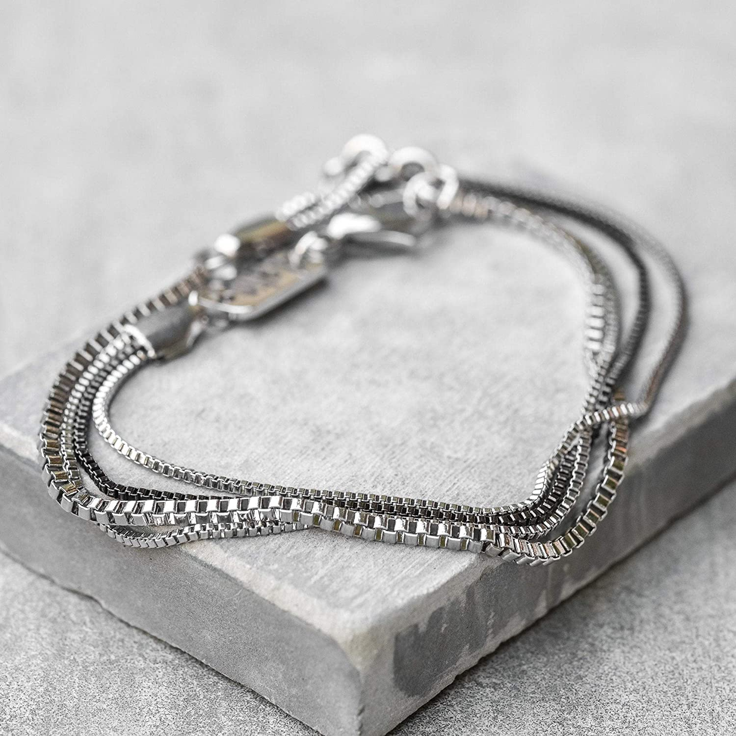 Jewelry For Men FITS 7-8 WRIST SIZE Silver Bracelet For Men Handmade Cuff Chain Bracelet For Men Made Of Stainless Steel By Galis Jewelry Cuff bracelet For men