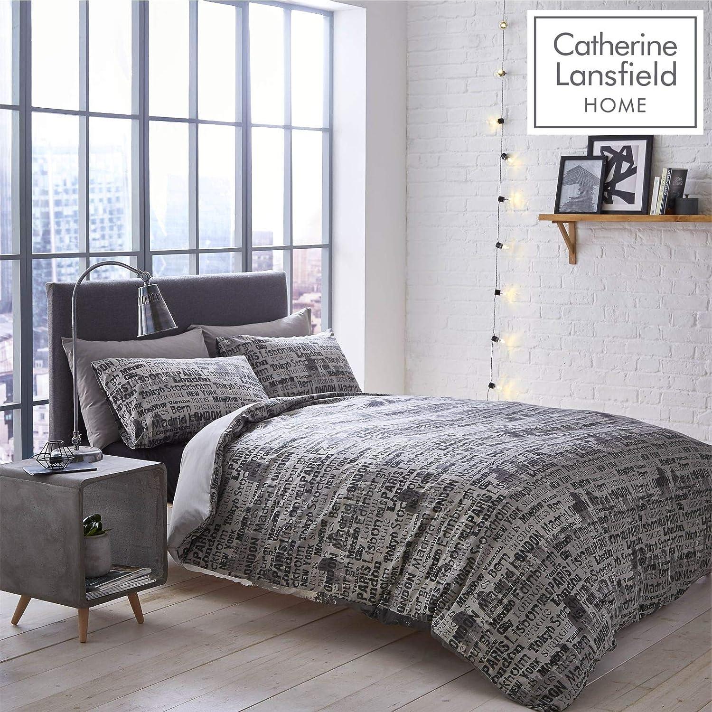 Multicolore Catherine Lansfield Home Parure Housse de Couette 1 Personne City Scape 135 x 200 cm