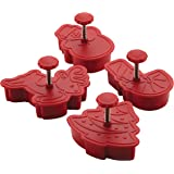 Cake Boss Decorating Tools 4-Piece Christmas Fondant Press Set, Red