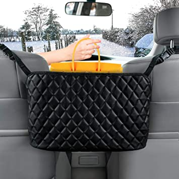 Seat Back Net Bag Purse Storage /&bag Handbag Holder Between The Two Seats of The Car Black with diamond PU Leather Seat Back Organizer Mesh Large Capacity Bag Car Pocket Handbag Holder