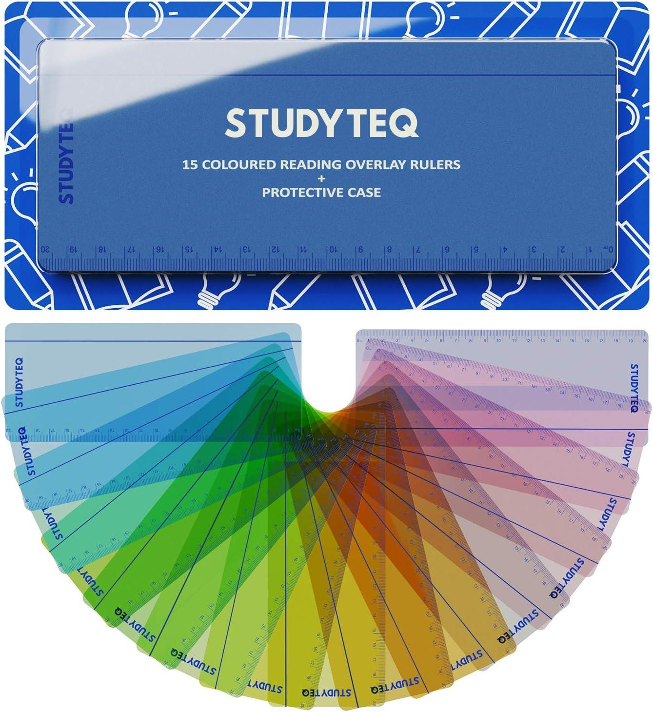 15 x Disposiciones y reglas de lectura de color para dislexia profesional Studyteq + estuche protector | Reglas de seguimiento de lectura para el estrés visual, dislexia, síndrome de Irlens y TDAH: