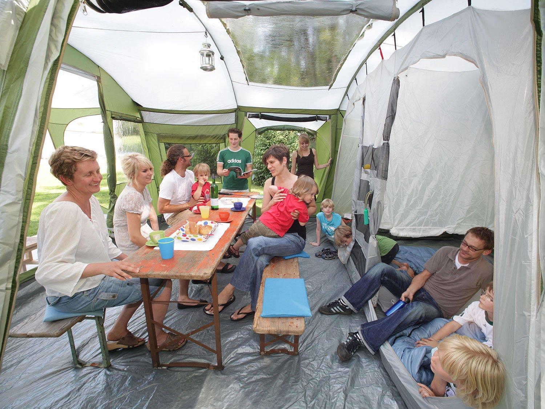 SKANDIKA Tienda de campaña, Zelt Saturn 6, GrãŒn, 655 x 410 cm, Verde/Blanco: Amazon.es: Deportes y aire libre