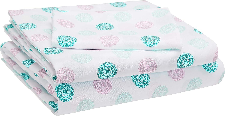 AmazonBasics Kid's Sheet Set - Soft, Easy-Wash Microfiber - Twin, Jade Medallion