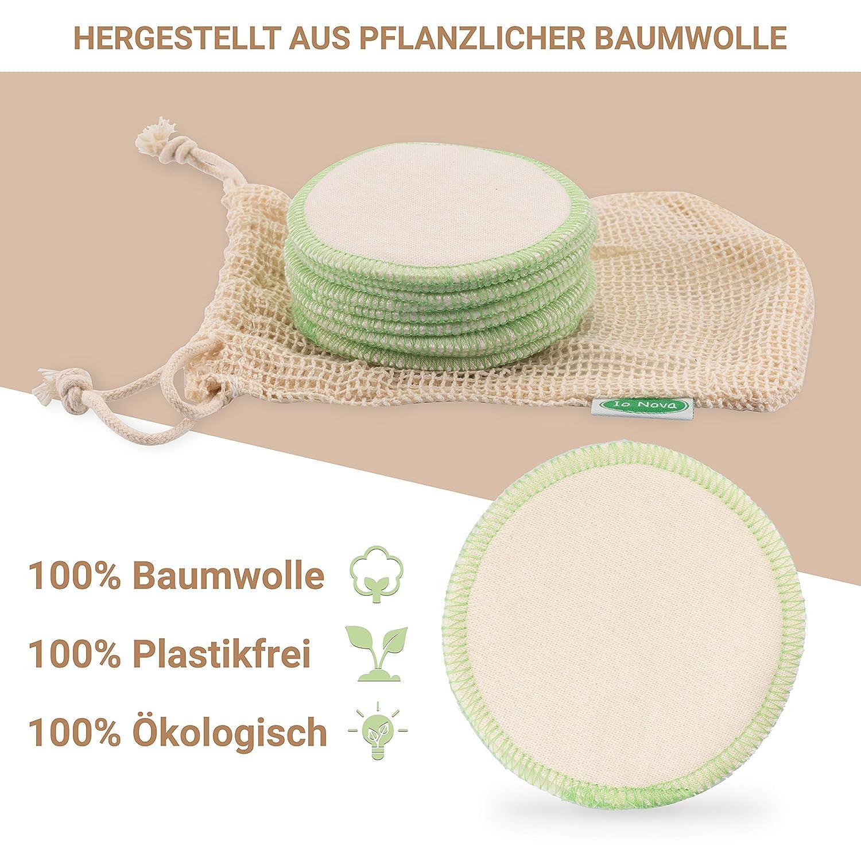 Io Nova waschbare Abschminkpads 12 wiederverwendbare Reinigungspads aus 100/% Baumwolle mit W/äschebeutel Wattepads Nachhaltige Gesichtsreinigung