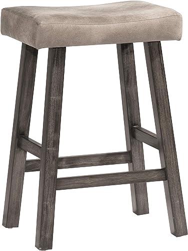 Hillsdale Furniture Saddle Backless, Rustic Gray Bar Stool