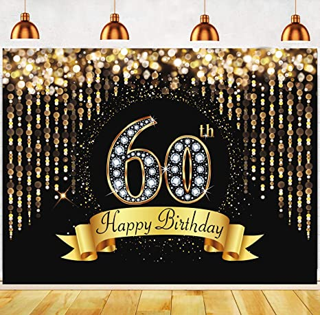 DaShan 14x10ft Gold and Black 60th Birthday Backdrop Adult Golden Glitter Diamonds Shiny Photography Background 60 Years Old Age Party Decoration Women Lady Cake Table Banner Photo Props