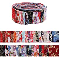 Jelly Roll Fabric Strips for Quilting,40 PCS Roll Cotton Fabric for Sewing with Different Patterns,2.6x41.3 Inches…