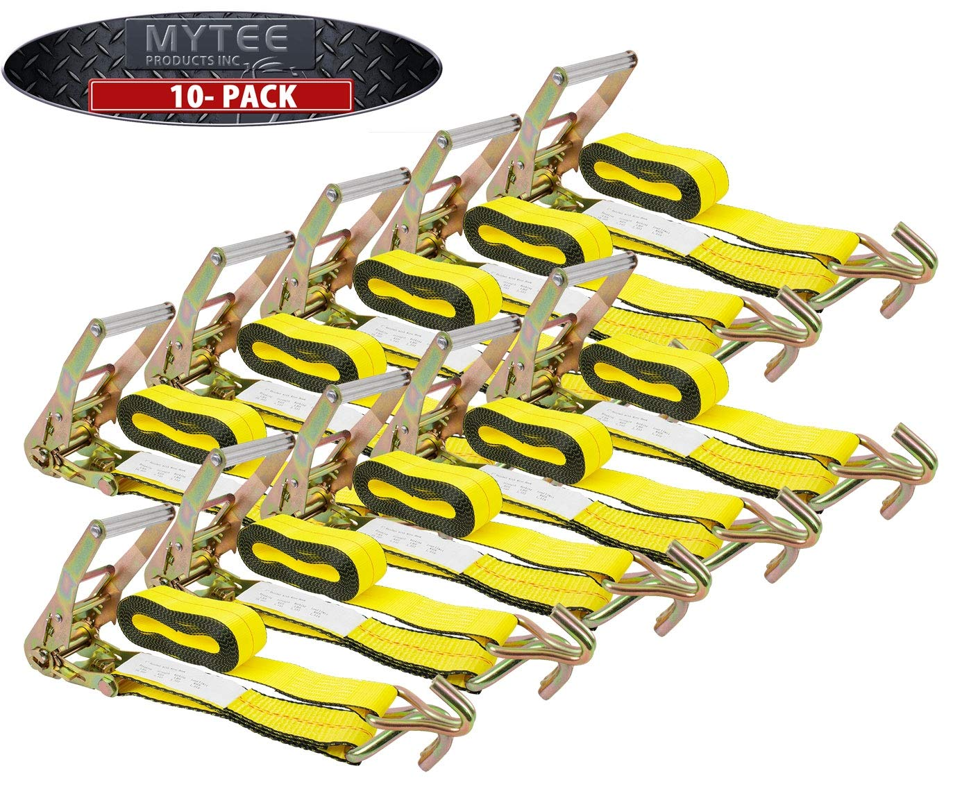 Mytee Products (10 Pack) 2'' X30' Ratchet Straps w/Wire Hook, WLL 3335 Tie Down Strap