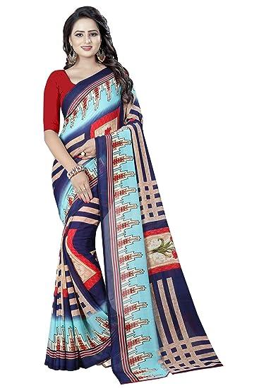 7fb6ad027 Amazon.com  Shonaya Party Wear Women`S Georgette Printed Saree Sari (Multi  Colour)  Clothing