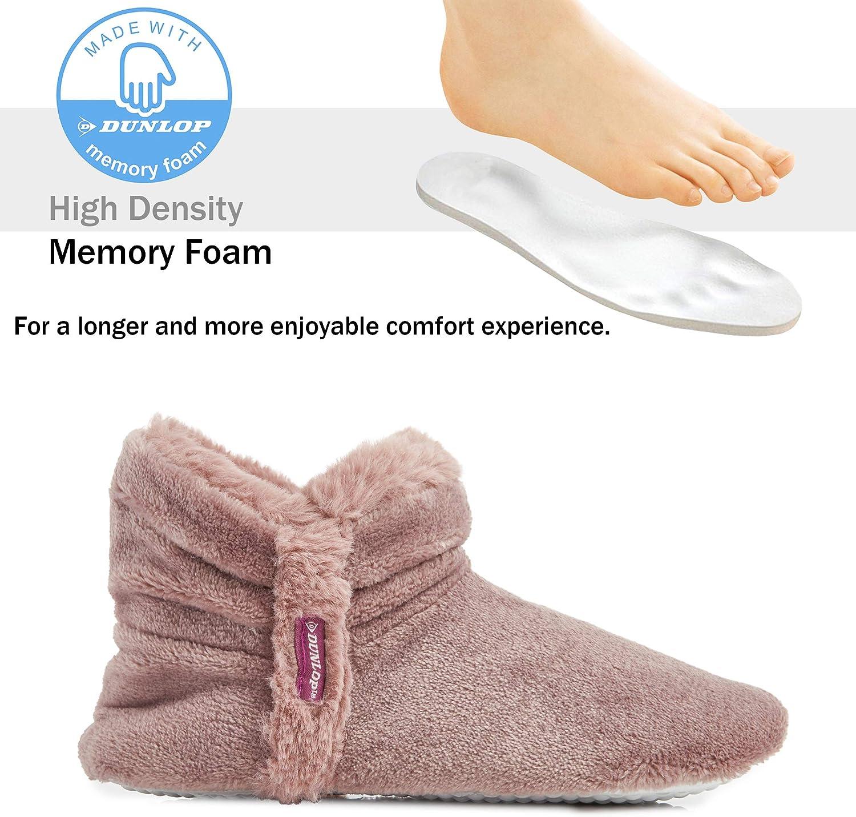 Botas Pantuflas Cerradas Invierno Dunlop Zapatillas De Estar En Casa Altas para Mujer Mujer Interior Suave Peluche con Suela de Goma Antideslizante