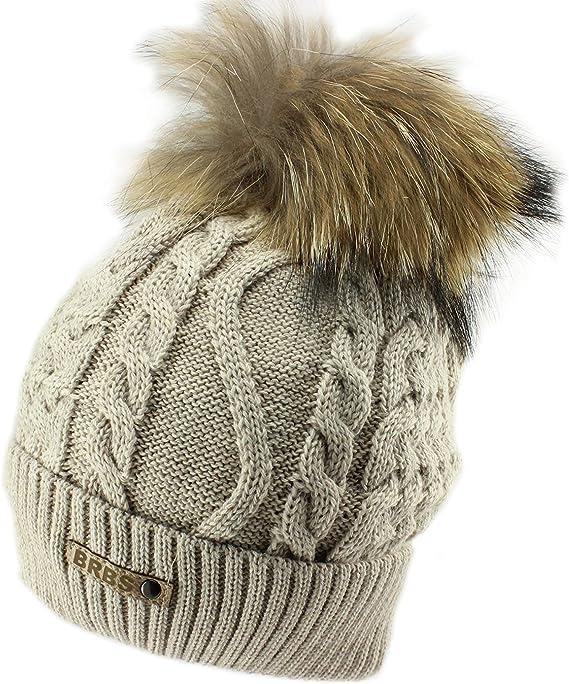 Barbaras Grey Warm Winter Pom Pom Beanie Hat