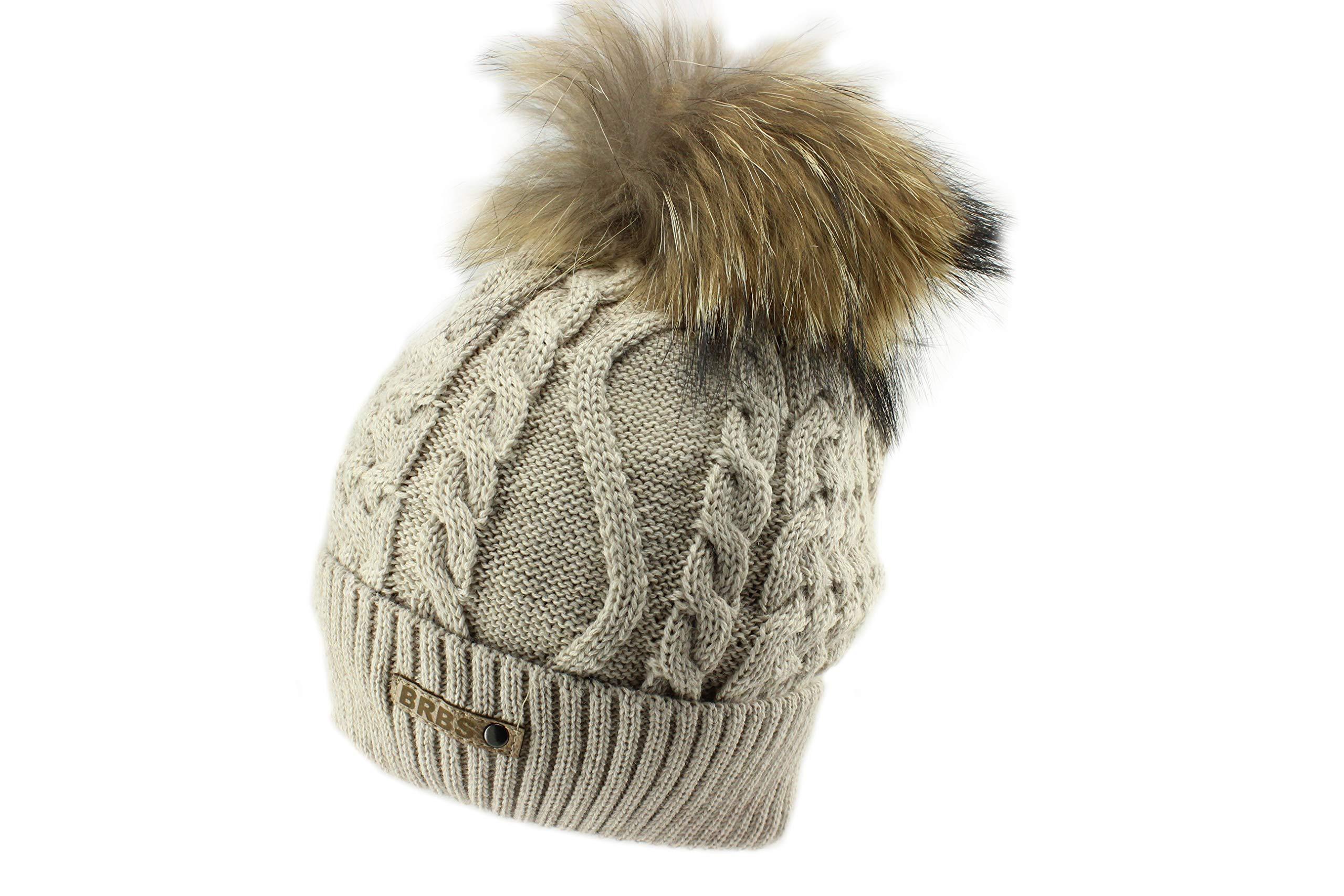 Barbaras Brown Warm Winter Natural Fur Pom Pom Beanie Hat
