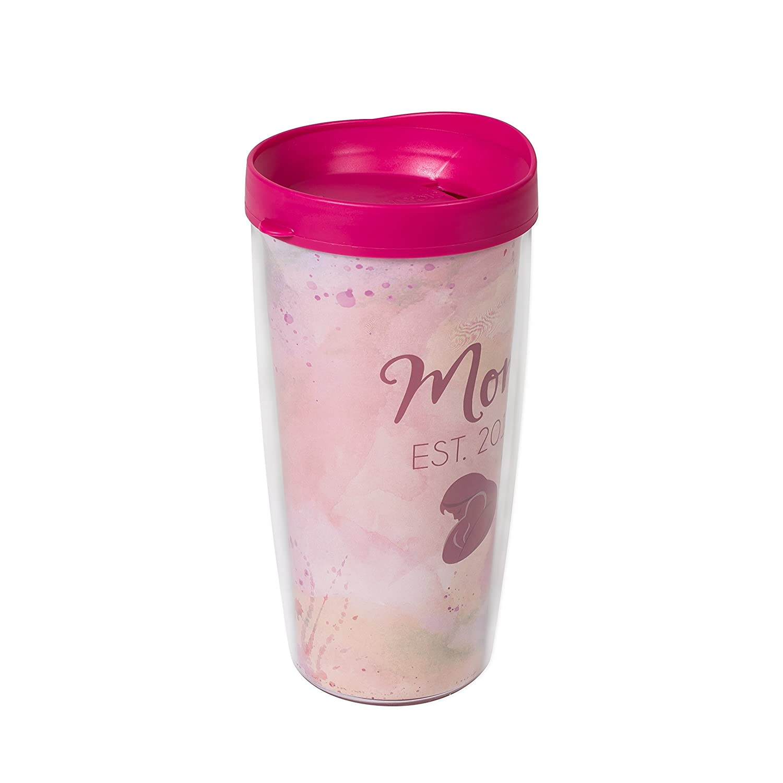 Mom Est 2018 Pink Blush Watercolor Wrap 22 Oz Travel Tumbler Mug with Lid