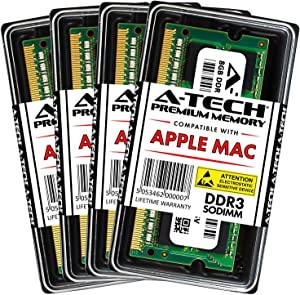 A-Tech 32GB Kit (4X 8GB) DDR3 1066MHz / 1067MHz PC3-8500 204-pin SODIMM for Late 2009 Apple iMac 27-inch - Memory RAM Upgrade