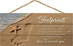 P. Graham Dunn Footprints I Carried You Beach Printed 10 x 4.5 Wood Wall Hanging Plaque Sign