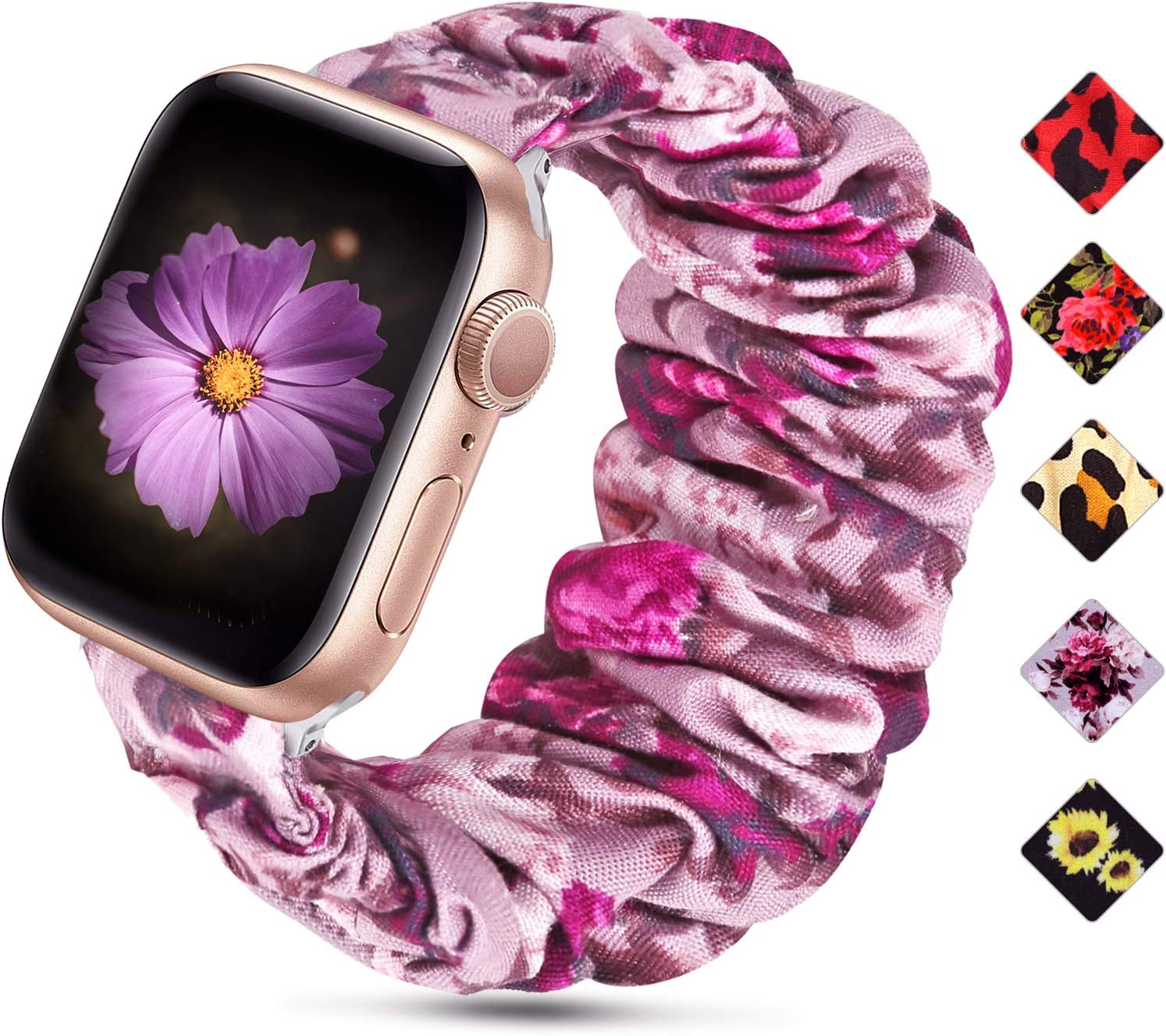 Huishang Scrunchie Watch Band Compatible for Apple Watch Band 38mm 42mm 40mm 44mm, Soft Pattern Replacement Wristband Women Compatible with iWatch Apple Watch Series 5 4 3 2 1(Purple Flower,38/40mm)