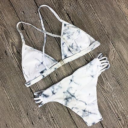Angelof Maillot de Bain Imprim/é Marbre Femme Amincissant 2 Pieces Bikini Push Up Rembourre String Ado Fille Ensemble