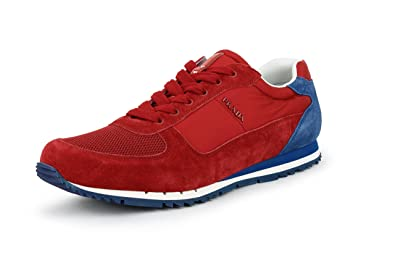 72574c7e2cff ... discount prada mens suede with nylon trainer sneaker red blue 4e2721 11  us uk cd3d3 082aa