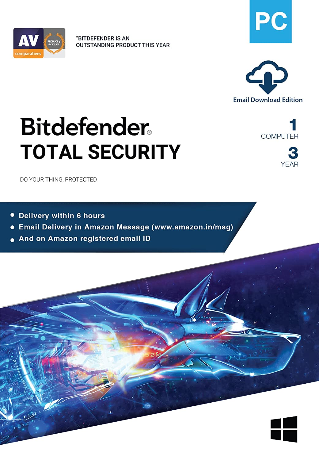 Bitdefender - 1 Computer,3 Years - Total Security | Windows | Latest Version | Email $9.09 Coupon