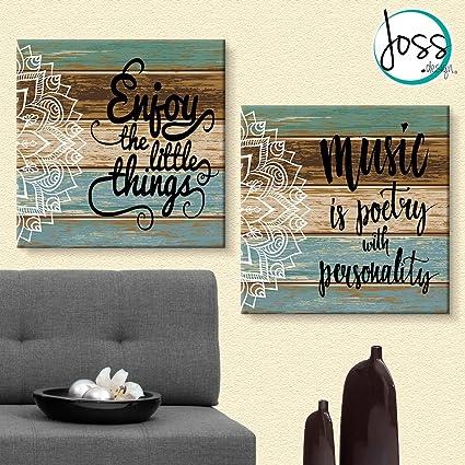Cuadros Decorativos 2 Piezas Frases Con Mandala