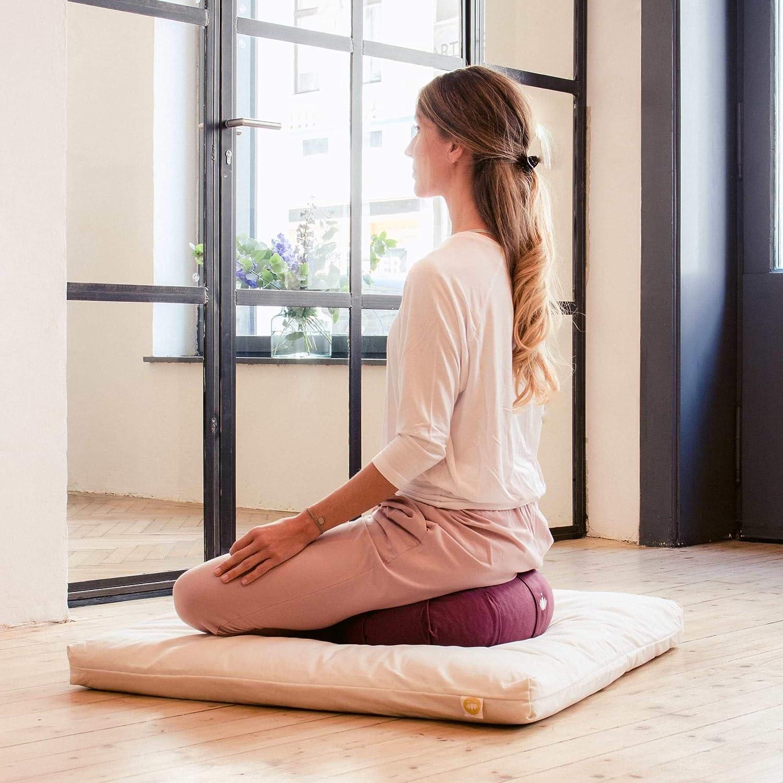 Lotuscrafts Cojin Zafu Meditación Yoga Kapok Delight - Altura 15 cm - Relleno de Kapok - Cubierta en Algodon Lavable- Cojin Yoga Zafu - Cojin Suelo ...
