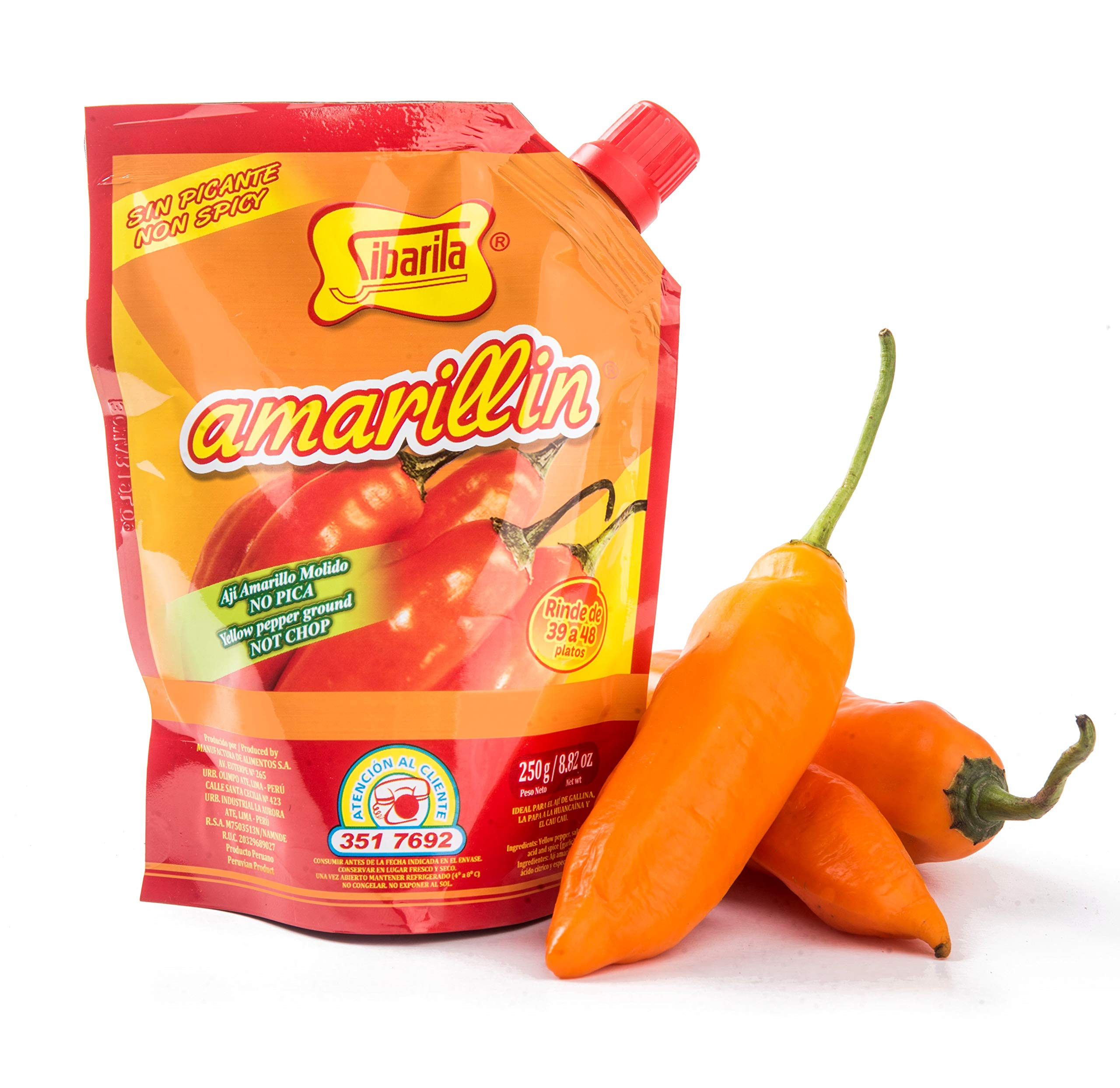 Sibarita Aji Amarillo Pepper Sauce - Peruvian Yellow Chili Paste Peppers - Non Spicy - 250