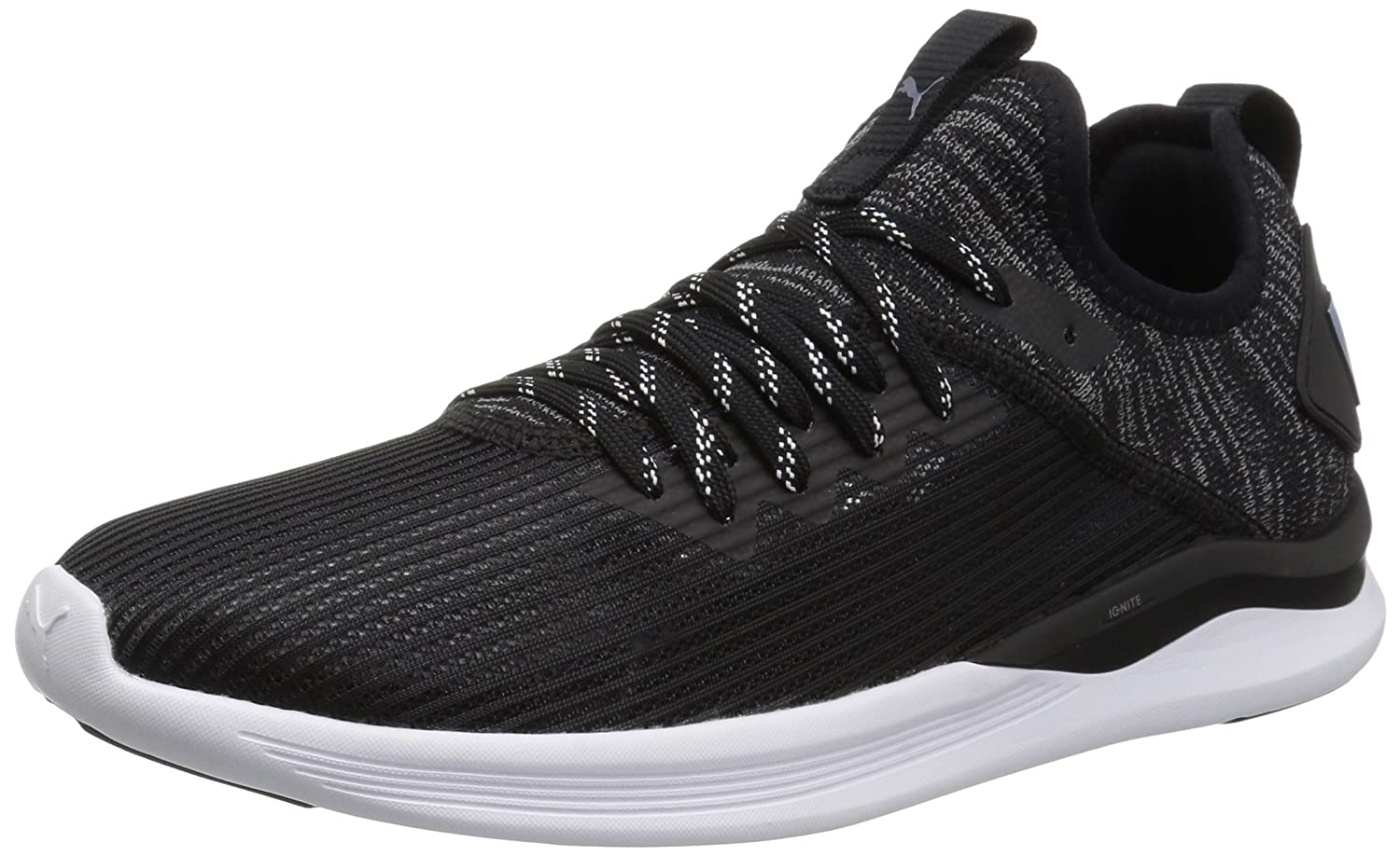 Puma Black-quiet Shade PUMA Womens Ignite Flash Evoknit Stripped Wn Sneaker