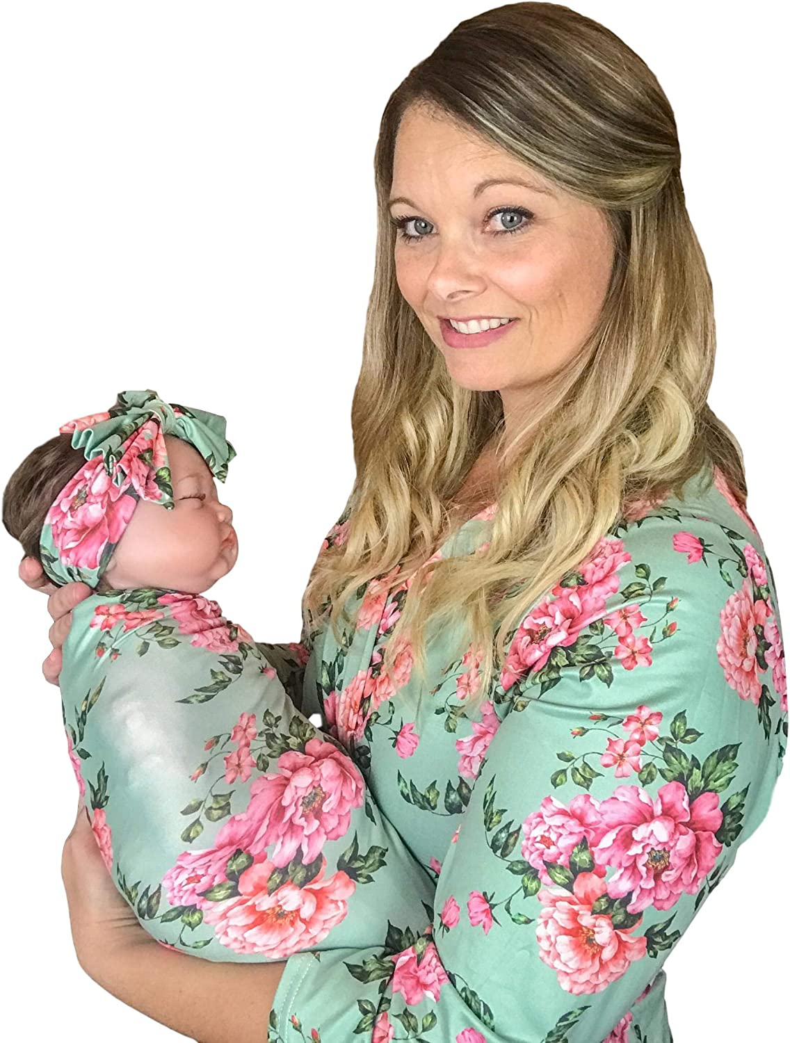 Maternity robe and swaddle set girl Mommy and me robe and swaddle set Maternity robe and swaddle set girl Brown Gray floral Baby blanket