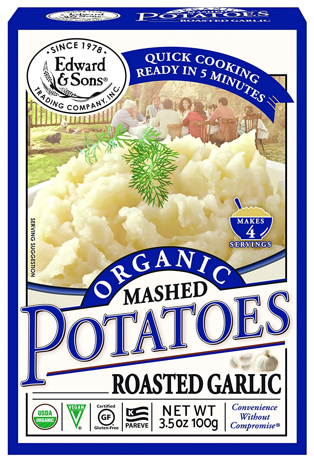 Edward & Sons Organic Mashed Potatoes Roasted Garlic, 3.5 Ounce Boxes (Pack of 6)