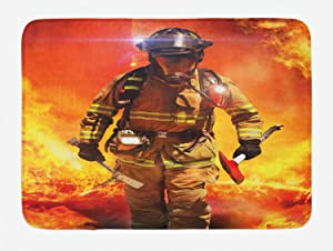 """Lunarable Fireman Bath Mat, Firefighter in a Building on Fire Searching for Survivors Emergency Services, Plush Bathroom Decor Mat with Non Slip Backing, 29.5"""" X 17.5"""", Red Orange"""