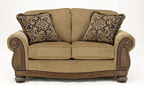 Ashley Furniture Signature Design   Lynnwood Loveseat Sofa   Classic Style  Couch   Amber And Brown