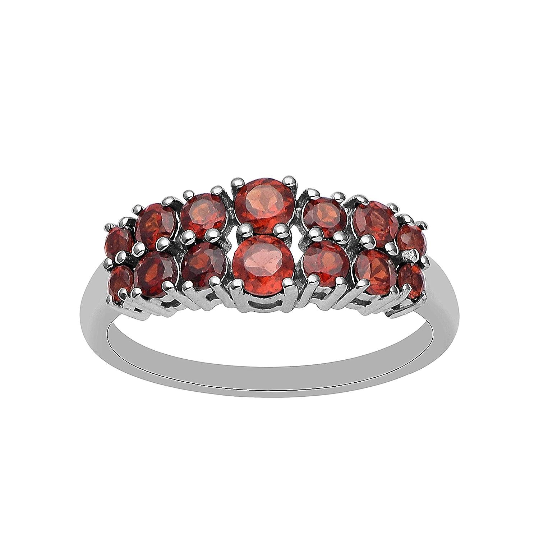 a5bf4c5fcb3f Juego de anillos de eternidad de plata de ley con piedras preciosas de  granate y piedras preciosas de corte redondo en plata de ley (W)   Amazon.es  Joyería