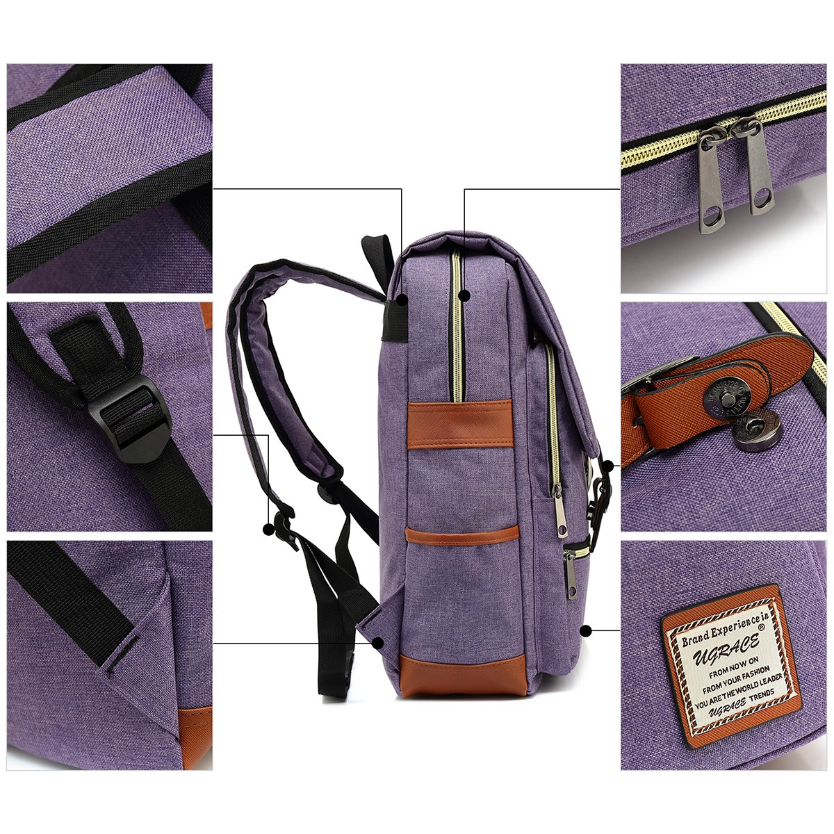 UGRACE Slim Business Laptop Backpack Elegant Casual Daypacks Outdoor Sports Rucksack School Shoulder Bag for Men Women, Tear Resistant Unique Travelling Backpack Fits up to 15.6Inch Macbook in Violet by UGRACE (Image #5)