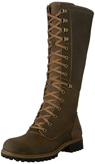 Timberland Womens Wheelwright Tall Lace Waterproof Boot 55 US M Dark Brown Suede