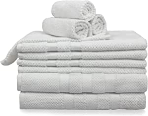 COTTON CRAFT - Rice Weave 10-Piece Towel Set in White, Luxurious 100% Cotton, Heavy Weight & Absorbent, Set with 2 Oversized Large Bath Towels, 4 Hand Towels & 4 Wash Cloths