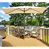 Abba Patio Rectangular Patio Umbrella Outdoor Market Table Umbrella with Push Button Tilt and Crank, 6.6 by 9.8 Ft, Beige