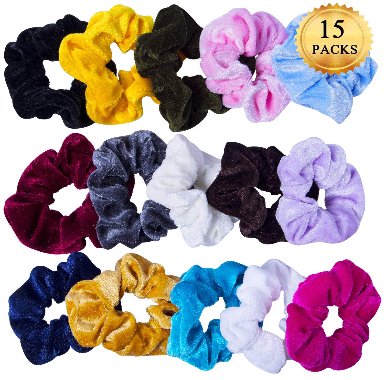 15 pezzi Scrunchies Velvet Scrunchies Fascia Elastica per Capelli Elastici per Capelli, 15 Colori YHmall