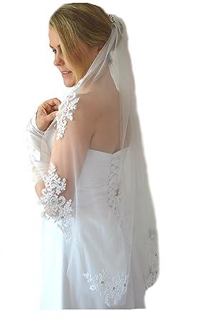 Schleier Brautschleier FEIN 1 Lage mit Kamm Strass Hochzeit Braut Weiß Ivory 85 cm